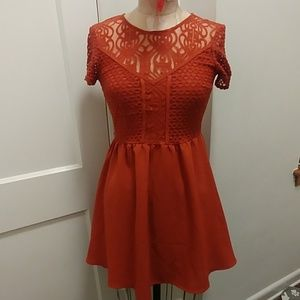 Burnt orange baby doll dress